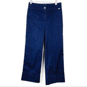 St. John   Blue Cropped Straight Leg Pants